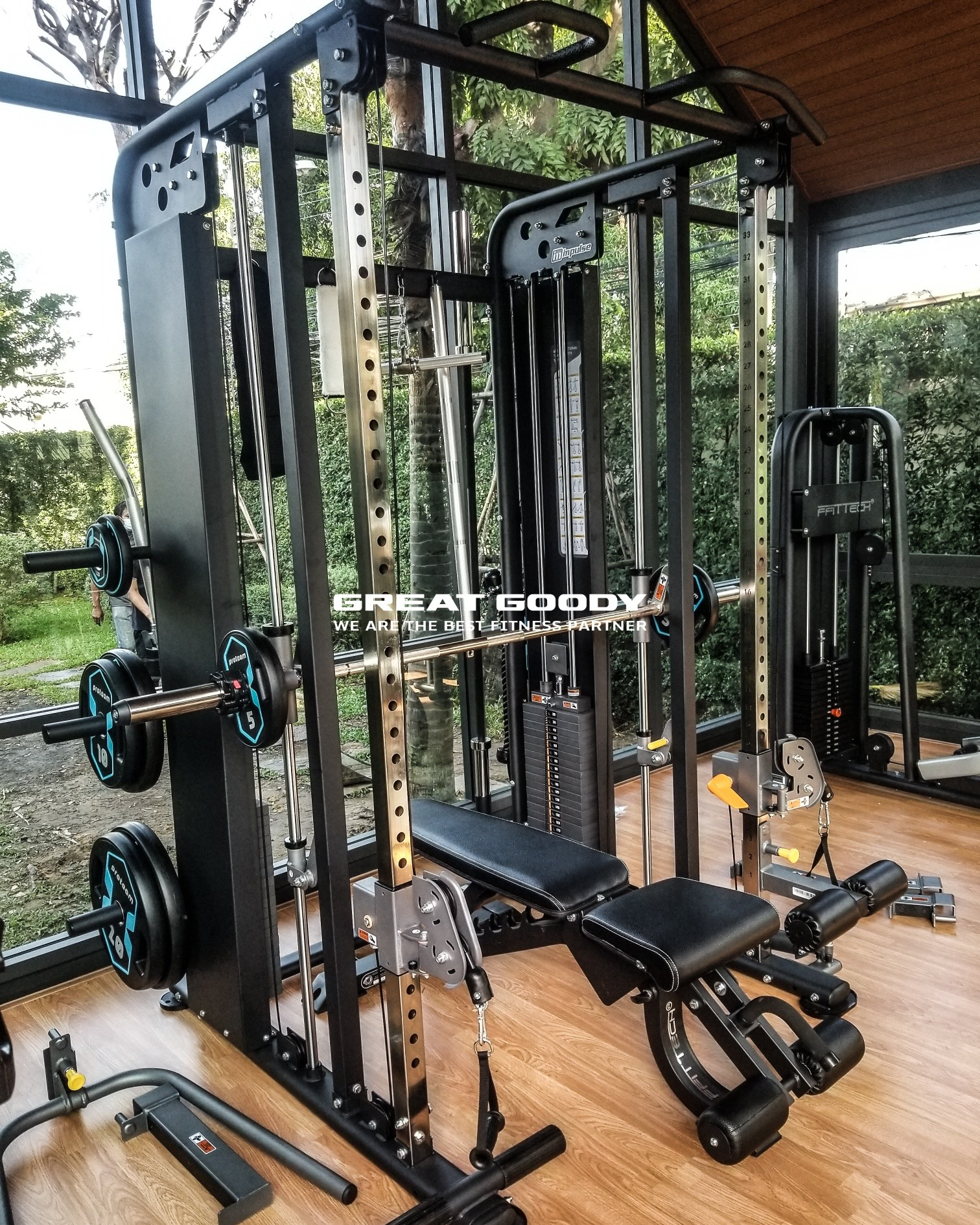 ES2100 Multi-Functional Trainer with Smith -> Multi-Functional Dual Pulley + Selectorized  Hard chrome plated guide rod  Cable transmission ratio 1:2,  maximum stroke 2314mm    หมายเหตุ : ข้อมูลทั้งหมดอาจมีการเปลี่ยนแปลงจากผู้ผลิต
